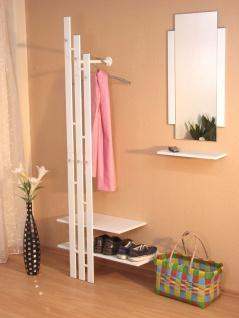 Wandgarderobe Garderobe Kleiderstange Ablagebogen chrom nickel Ablage weiß