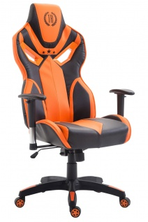 Bürostuhl 150 kg belastbar schwarz orange Kunstleder Chefsessel Zocker Gaming