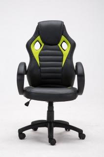 Bürostuhl 120 kg belastbar schwarz grün Kunstleder Chefsessel sportliches design - Vorschau 2