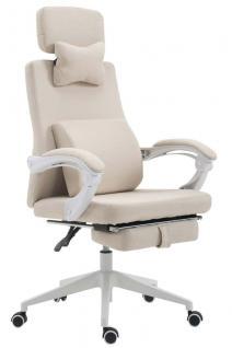 Bürostuhl Stoff creme klassisch Chefsessel mit Fußablage hochwertig modern