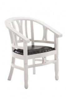 Holzstuhl antik weiß Sitzpolster Kolonial Sessel Küche Esszimmer Landhaus neu