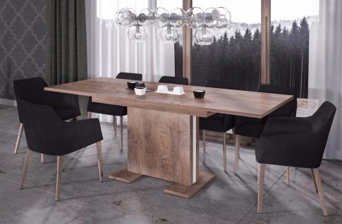 design Säulentisch nussbaum ausziehbar Auszug Esstisch modern günstig hochwerig