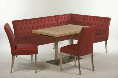 Eckbankgruppe bordeaux rot / Sonoma Eiche Essgruppe Tischgruppe modern design