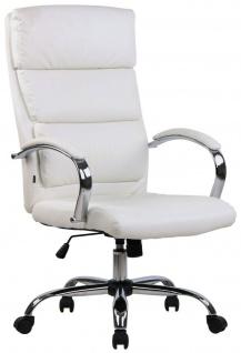 Bürostuhl 136 kg belastbar weiß Kunstleder Chefsessel hohe Rückenlehne NEU