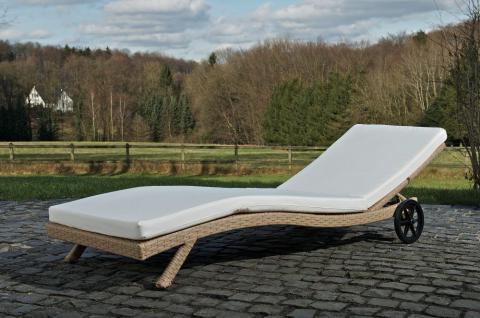 Polyrattan Sonnenliege sand Auflage Kissen Garten Terrasse Balkon rollen rollbar