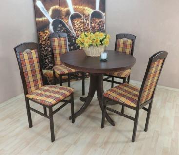 moderne Tischgruppe 5 tlg. massiv nuss gelb braun Essgruppe günstig preiswert