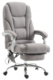 XXL Bürostuhl 150 kg belastbar grau Stoffbezug Chefsessel Massagefunktion stabil