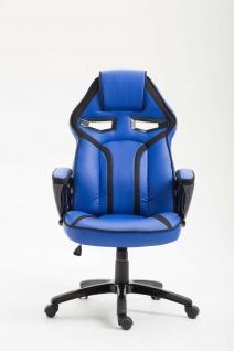 Bürostuhl 115 kg belastbar blau Kunstleder Chefsessel sportlich modern design - Vorschau 2