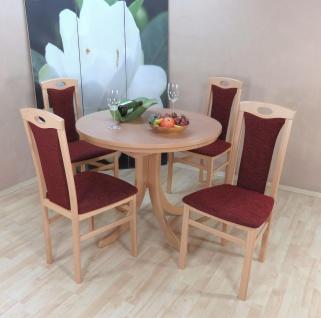 Tischgruppe Buche massiv bordeauxrot Essgruppe modern design günstig preiswert