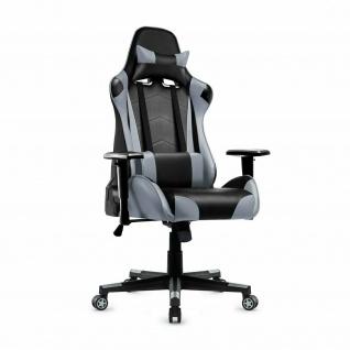 XL Bürostuhl 150kg belastbar grau/schwarz Kunstleder Chefsessel Drehstuhl stabil