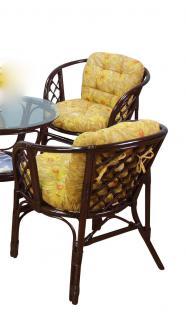 Rattansessel inkl. Kissen Rattanstuhl Stuhl Sessel Rattan Rattanrohr gelb braun