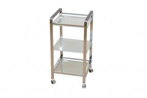 Metallregal 3 Böden Regal Badregal Küchenregal Standregal Milchglas Stahl modern