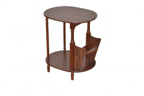 Beistelltisch nußbaum Telefontisch Beitisch massivholz zwei Ablagen Holz neu