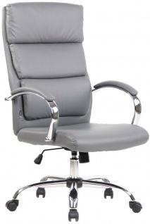 Bürostuhl 136 kg belastbar grau Kunstleder Chefsessel hohe Rückenlehne NEU