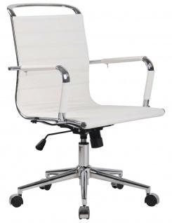 "Bürostuhl "" Echtleder"" weiß 136 kg belastbar Drehstuhl Schreibtischstuhl stabil"