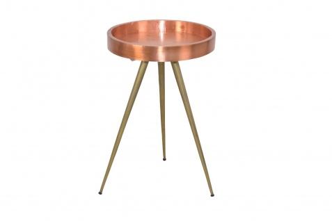 Beistelltisch rund kupfer/goldfarben Metall Couchtisch Beitisch modern design