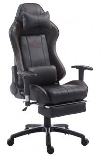 XL Bürostuhl 150kg belastbar schwarz braun Chefsessel Fußablage Zocker Gamer