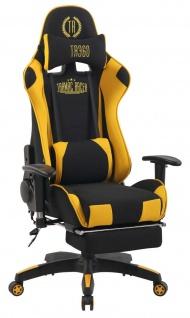 XXL Bürostuhl schwarz gelb Stoffbezug Chefsessel Massagefunktion beheizbar Wärme