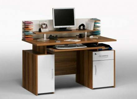 Schreibtisch Meranol / weiß Computertisch Arbeitstisch Bürotisch Monitoraufsatz