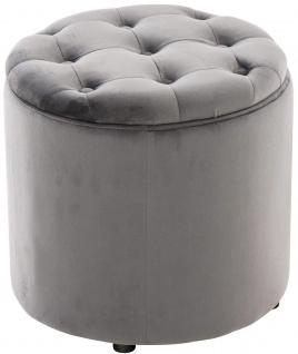 Sitzhocker Samt grau Polsterhocker mit Stauraum Fußhocker rund modern design