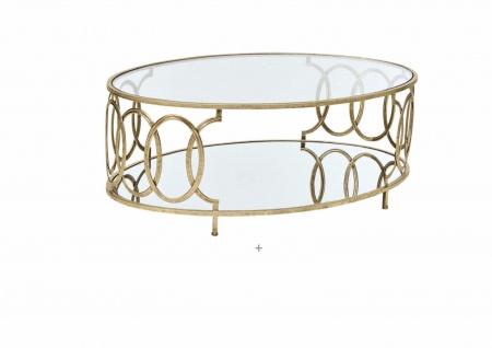 Couchtisch Tisch Beistelltisch Glastisch Metalltisch Metall/Glas Farbe Gold neu - Vorschau 2