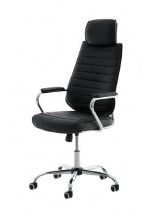Bürostuhl 120 kg belastbar Kunstleder schwarz Chefsessel Drehstuhl modern design