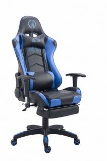 Chefsessel schwarz blau Kunstleder Bürostuhl Kopfstütze Fußstütze Zocker Gamer