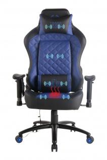 Chefsessel blau Kunstleder Bürostuhl Wärme/Massage Gaming Gamer Zockersessel