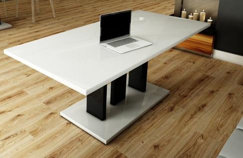Couchtisch Wohnzimmer ausziehbar modern design Weiß Hochglanz schwarz Sofatisch