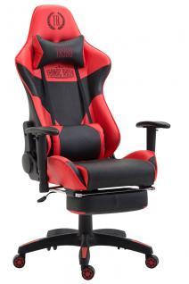 Bürostuhl rot schwarz Kunstleder Fußablage Chefsessel Zocker Gaming belastbar