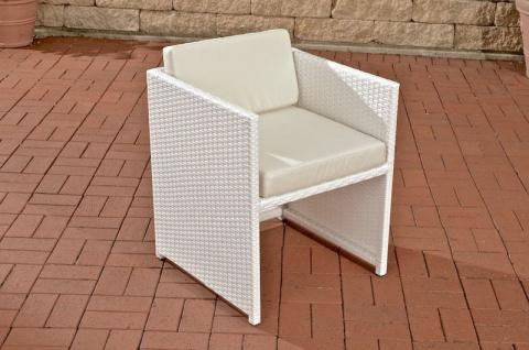 Polyrattan Gartenstuhl weiß inkl. Kissen Auflage Lounge Garten Terrasse