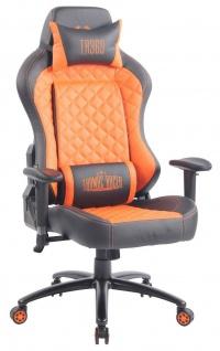 XL Bürostuhl 150 kg belastbar schwarz orange Kunstleder Chefsessel Gamer Zocker