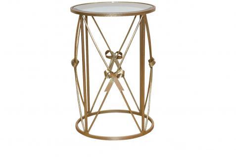 Beistelltisch goldfarben Metalltisch Glastisch Tisch Couchtisch rund design