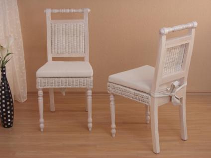 2 x Rattanstühle weiß massivholz Esszimmerstühle Rattan modern design günstig