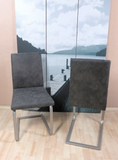 2 x Freischwinger anthrazit Stühle Vintage Lederoptik günstig preiswert neu