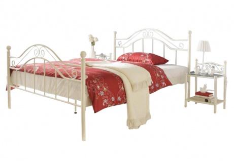 Metallbett cremeweiß 180 x 200 cm romantisch Ehebett günstig preiswert antik neu