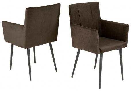 """2 x Stühle braun """" Microfaser samt"""" Esszimmerstühle Stuhlset mit Armlehnen modern"""
