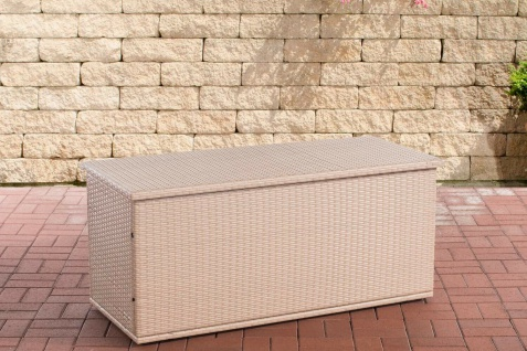 Rattan Auflagenbox 150 cm sand Gartenbox Kissenbox Gartentruhe Aufbewahrungsbox