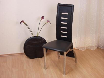 2 x Stühle schwarz Stuhlset Esszimmerstühle Kunstleder modern design günstig