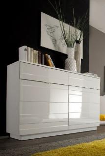 Kommode Hochglanz weiß Anrichte Schrank Sideboard Reliefoptik modern design