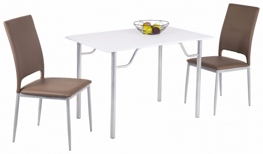 Esstisch weiß Metall silber Esszimmer Küche Wohnzimmer preiswert günstig neu