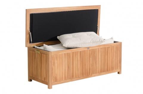 XL Auflagenbox Teakholz Sitzbank Gartenbox large Kissenbox Gartenbank Stauraum