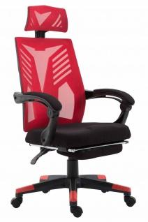 Bürostuhl 120kg belastbar schwarz rot Chefsessel Netzbezug Fußablage design