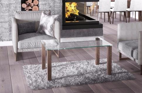 hochwertiger Glastisch nussbaum Couchtisch Sofatisch preiswert günstig modern