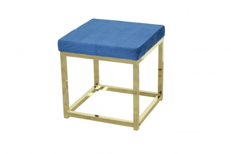 moderner Hocker blau / Messing Hockerbank Polsterhocker Sitz design Sitzwürfel