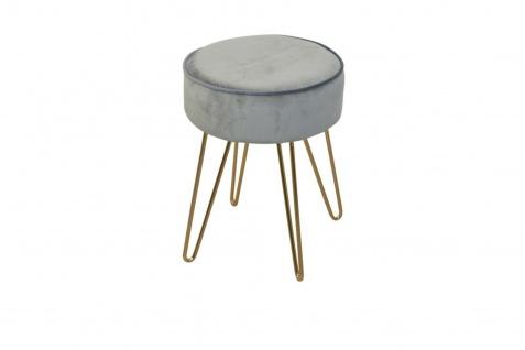 runder Samt Polsterhocker Grau / Goldfarben Sitzhocker Bocker Bank modern design