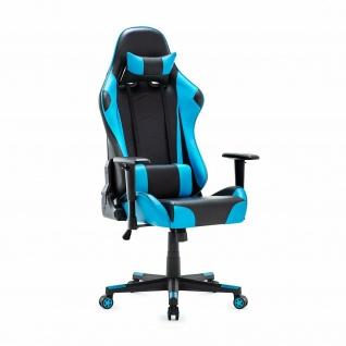 XL Bürostuhl 150kg belastbar blau/schwarz Kunstleder Chefsessel Drehstuhl stabil