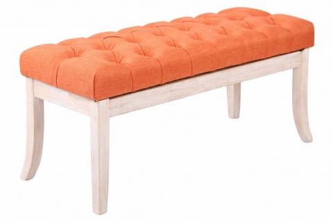 Sitzbank Antik weiß orange 100 cm Stoff Vintage Chesterfield Design Hockerbank
