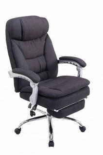 Bürostuhl Stoff schwarz Fußablage Chefsessel 160 kg belastbar Drehstuhl stabil