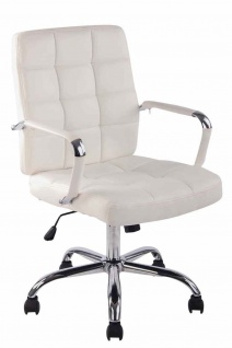 Bürostuhl bis 140 kg belastbar Kunstleder weiß Schreibtisch Drehstuhl modern